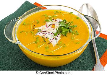 roślina, zdrowy, soup., jadło, śmietanka