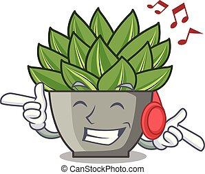 roślina, zima, muzykować słuchanie, kaktus, rysunek, echeveria