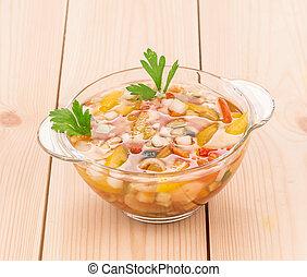 roślinna zupa, swojski, wood., świeży