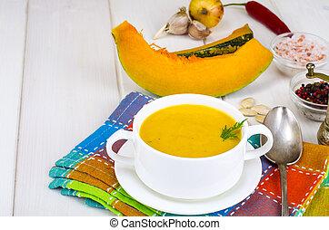 roślinna zupa, wegetarianin, jadło., śmietanka, dynia