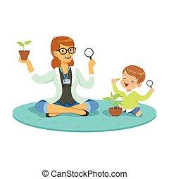 rośliny, chłopiec, mały, działalność, posiedzenie, podłoga, o, ilustracja, oświatowy, nauczyciel, wektor, nauka, podczas, botanika, rysunek, preschool, lekcja