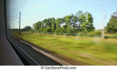 rośliny, druty, kolumny, pociąg farwater, podczas, podróż