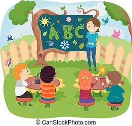 rośliny, dzieciaki, stickman, klasa