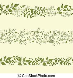 rośliny, komplet, tła, trzy, seamless, wzory, zielony, poziomy