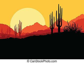 rośliny, natura, drzewo, ilustracja, wektor, dłoń, tło, dziki, kaktus, pustynia krajobraz