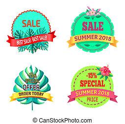 rośliny, oferta, sumer, tropikalny, 2018, logo, szczególny