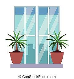 rośliny, ozdoba, okno