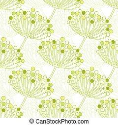 rośliny, próbka, seamless, wektor, zielone tło, geometryczny, bańka