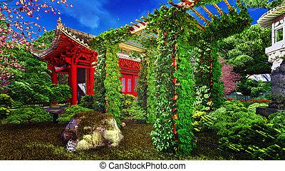 rośliny, styl, ogród, chińczyk, przedstawienie, 3d