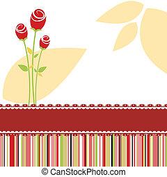 ro, blomma, röd kort, inbjudan