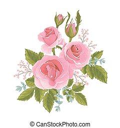ro, engelsk, rosa, grafisk, flowers.