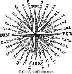 ro, kompass, windrose, årgång, eller, engraving.