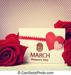 ro, meddelande, dag, röd, womans