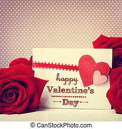 ro, meddelande, valentinkort dag, röd