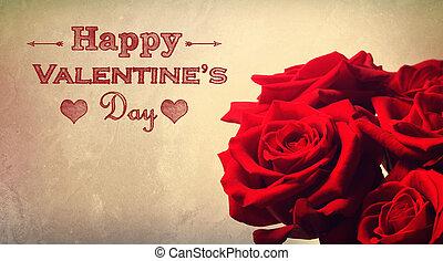 ro, meddelande, valentinkort, röd