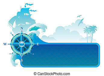 &, ro, resa, äventyren, vektor, kompass, ram