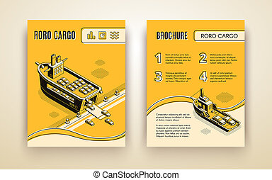 Maritime international transport company advertising brochure, annual report isometric page template with RORO cargo ships loaded with cars line art illustration. Business shipment infographics