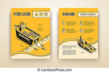 Ro-ro cargo company ad brochure isometric