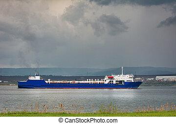 Ro-Ro Cargo Ship goes to the Sea