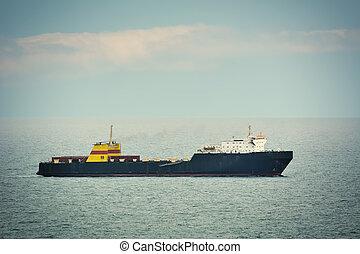 Ro-Ro Cargo Ship in the Open Sea