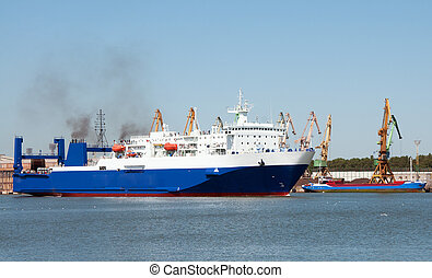 Ro-Ro ferry in port