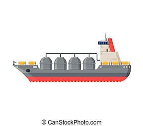 Ro Ro Ship Vessel, Side View, Water Transport, Sea or Ocean Transportation Vector Illustration on White Background.