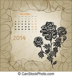 ro, serie, 2014., bläck, hand, calendar., penna, artistisk, årgång, oavgjord, kalender, en, botanisk, november, kort