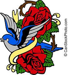 ro, svälja, emblem, inbillning