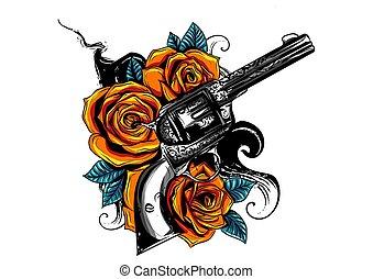 ro, teckning, färgad, gevär