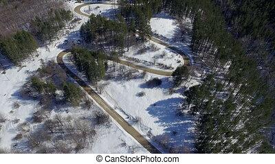 road., aérien, paysage, hiver