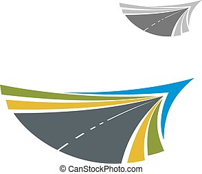 Rural road abstract colorful icon with flowing lines of yellow and green roadsides and blue sky, disappearing into the distance, for transportation themes design