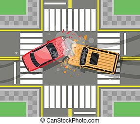 Road accident between two cars. Vehicle collision on grey background. Broken wings and bumpers, crashed windows. Top view. Traffic regulations. Rules of the road. Vector illustration in flat style