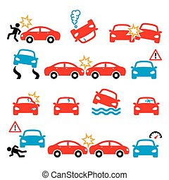 Road accident, car crash, personal injury vector icons set