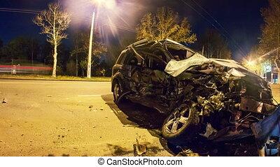 Road accident. Crashed car on the road timelapse, 4K