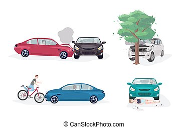 Road accident different situations collection. Car crash with car, tree, bicycle and skater. Colorful vector illustration set.