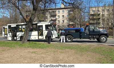 Road accident with Shuttle bus. Three videos, footage