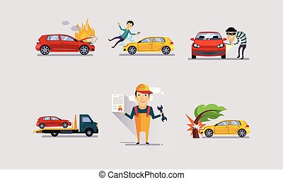 Road accidents set, car crash insurance and risk insured events vector Illustration