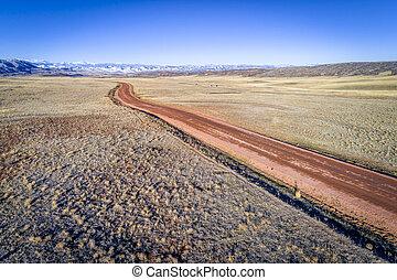 road across Colorado foothills