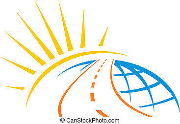 Road around whole world with sunrise illustration