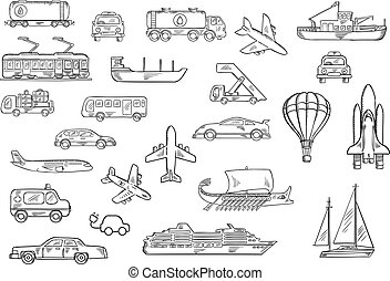 Road, air, water and railroad transport sketches
