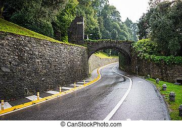 Road along the Lake Como.