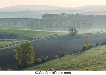 Road among green hills