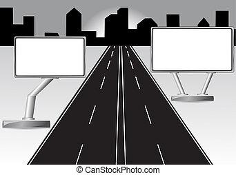 road and billboard  illustration