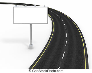 Road and billboard isolated on white