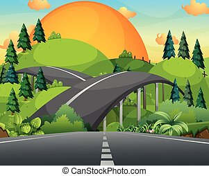 Road and bridge over the mountains