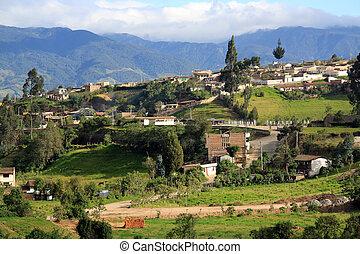 Ecuador - Road and buildings in the town in Ecuador