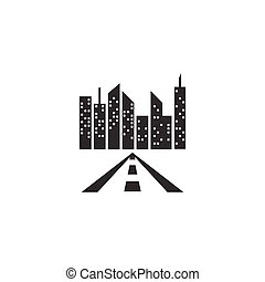 Road and city building logo template vector