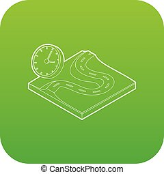 Road and clock icon green vector