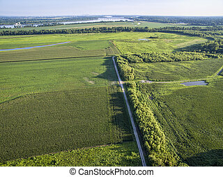 road and farmland aerial view