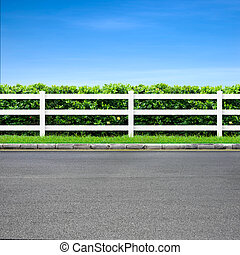 Road and fence